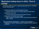 restricted visiting hours in icus time to change