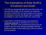 the implications of anita smith s enrollment and death