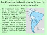 insuffisance de la classification de balassa 3 associations simples ou mixtes