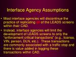 interface agency assumptions18