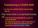 transitioning to leads 200057