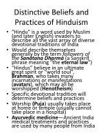 distinctive beliefs and practices of hinduism