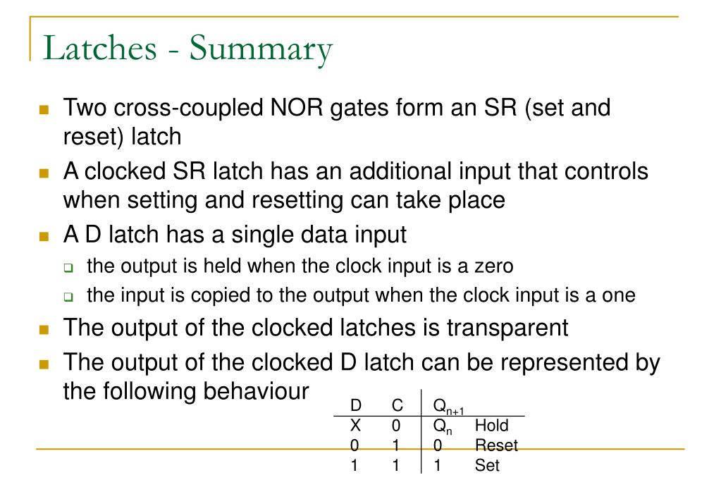 Latches - Summary