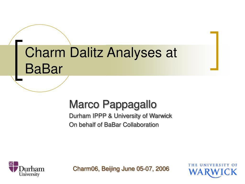 charm dalitz analyses at babar l.
