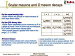 scalar mesons and d meson decays