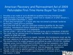 american recovery and reinvestment act of 2009 refundable first time home buyer tax credit