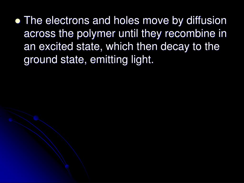 The electrons and holes move by diffusion across the polymer until they recombine in an excited state, which then decay to the ground state, emitting light.