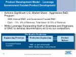 product development model leverage government funded product development