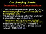 our changing climate increasing co 2 concentrations