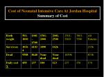 cost of neonatal intensive care at jordan hospital summary of cost18