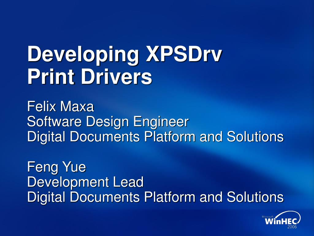 developing xpsdrv print drivers l.