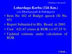 updating of proposals lohardaga korba 326 km via dharmjaygarh pathalgaon