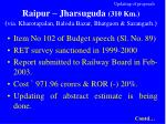 updating of proposals raipur jharsuguda 310 km via kharotapalan baloda bazar bhatgaon sarangarh