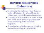 device selection inductors