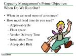 capacity management s prime objective when do we run out