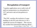 deregulation of transport