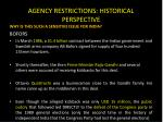 agency restrictions historical perspective1