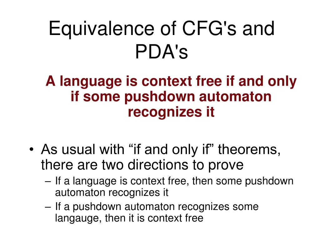 equivalence of cfg s and pda s l.