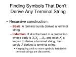 finding symbols that don t derive any terminal string