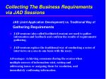 collecting the business requirements via jad sessions