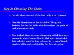 step 2 choosing the grain