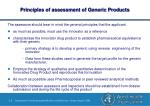 principles of assessment of generic products