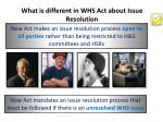 what is different in whs act about issue resolution
