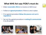 what whs act says pcbu s must do