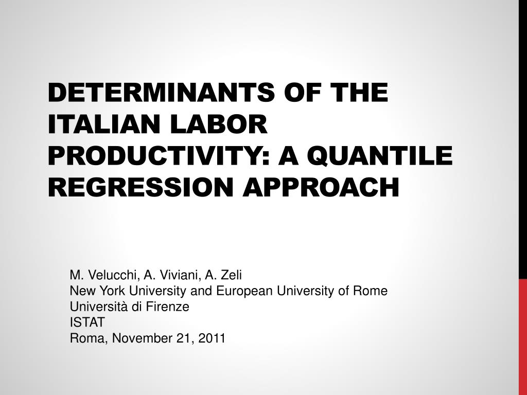 determinants of the italian labor productivity a quantile regression approach l.