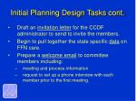 initial planning design tasks cont