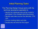 initial planning tasks