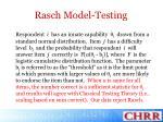 rasch model testing