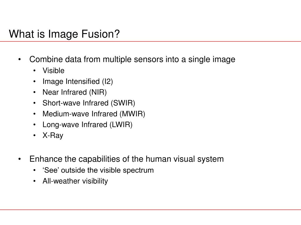 Combine data from multiple sensors into a single image