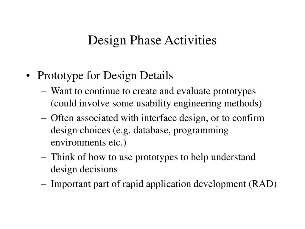 Design Phase Activities