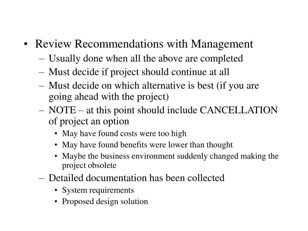 Review Recommendations with Management
