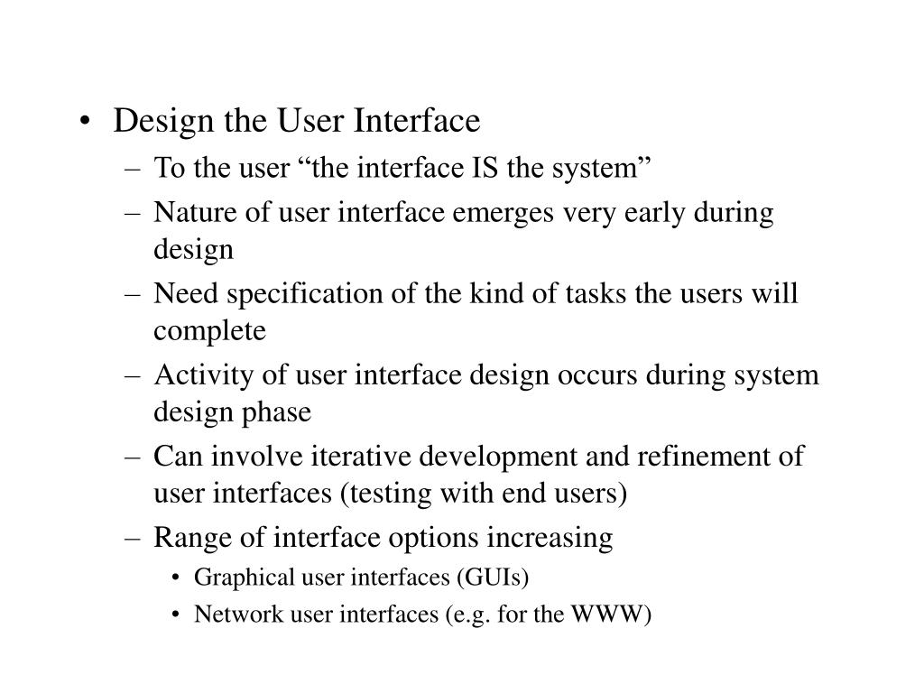 Design the User Interface