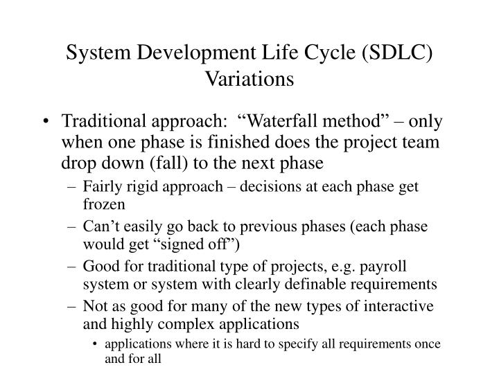 System development life cycle sdlc variations