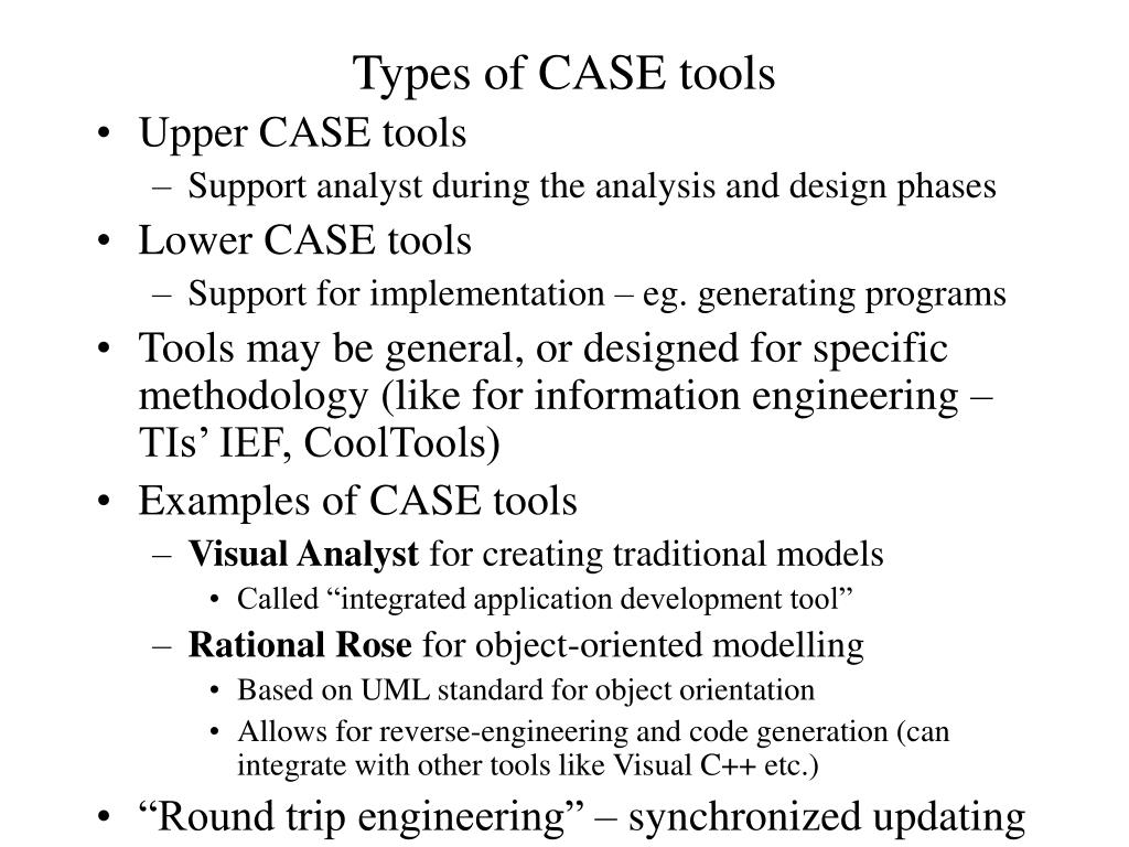 Types of CASE tools