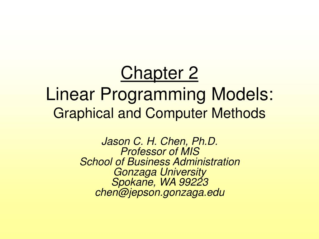 chapter 2 linear programming models graphical and computer methods l.