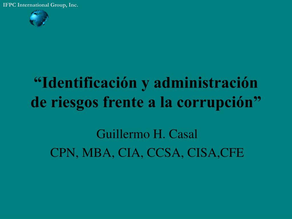identificaci n y administraci n de riesgos frente a la corrupci n l.