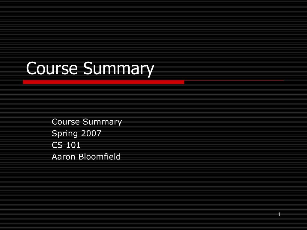 course summary l.