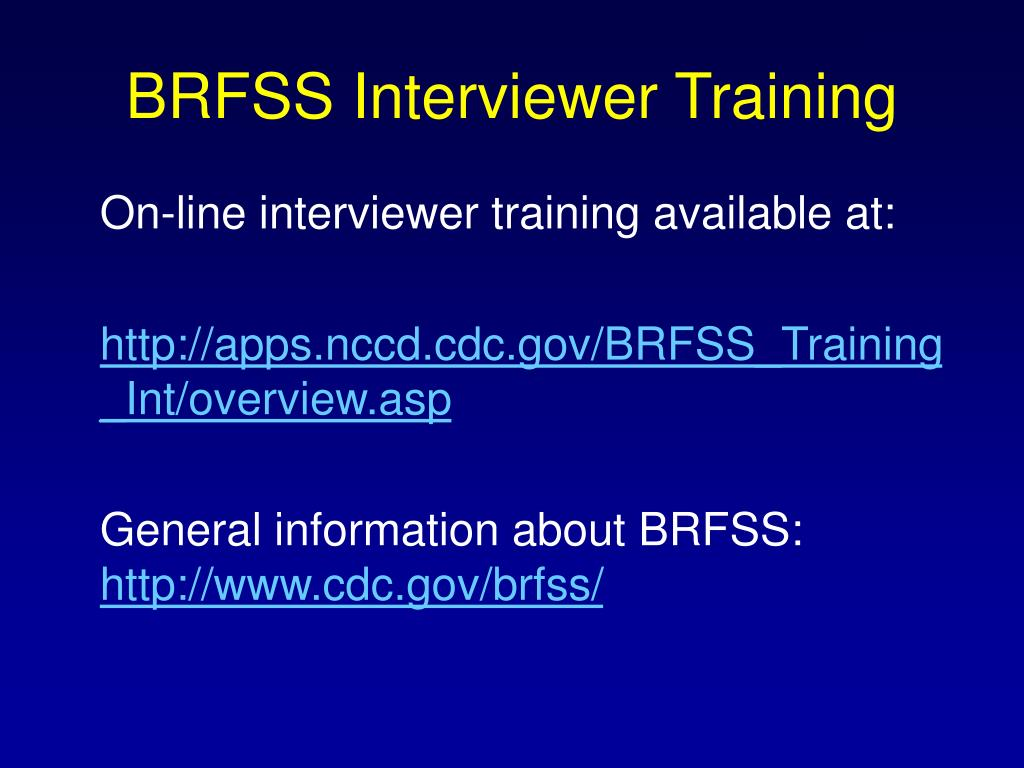 BRFSS Interviewer Training