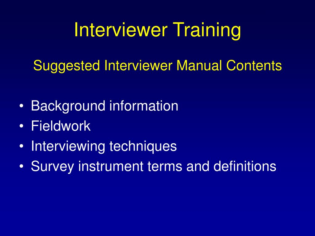 Interviewer Training