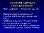 interviewing techniques learning objectives