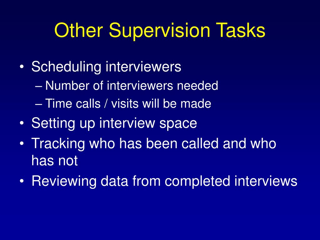 Other Supervision Tasks