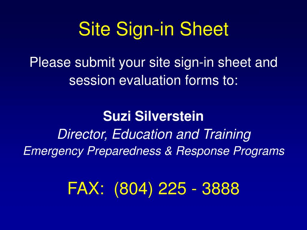 Site Sign-in Sheet
