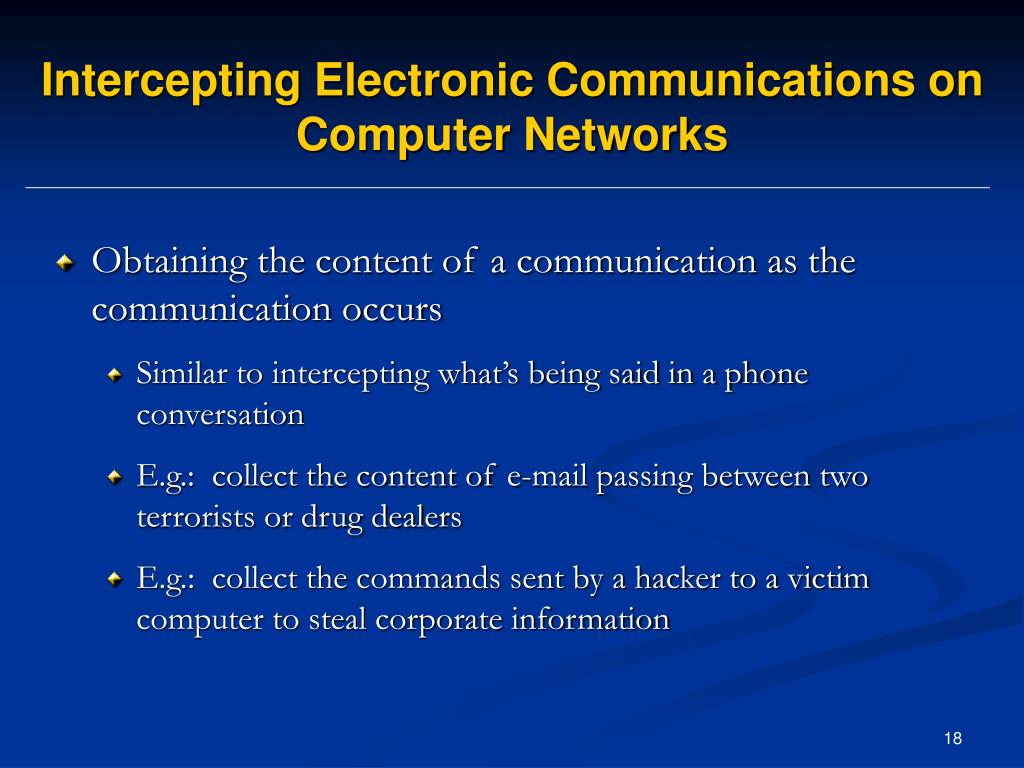 Intercepting Electronic Communications on Computer Networks