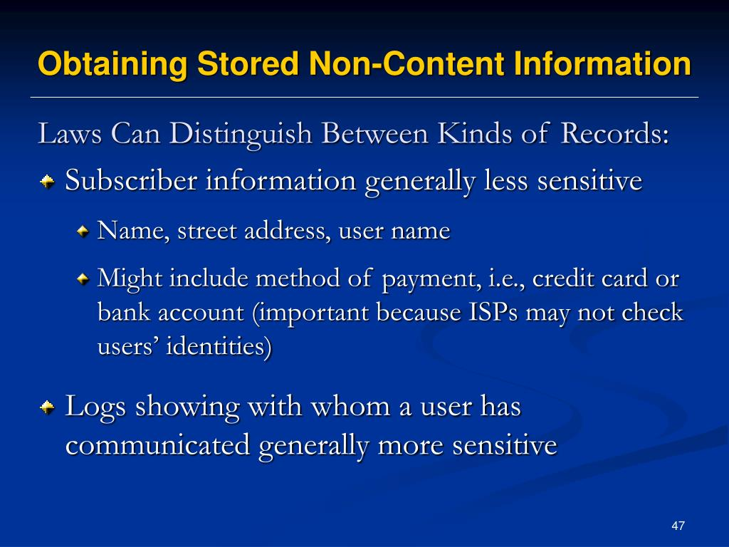 Obtaining Stored Non-Content Information