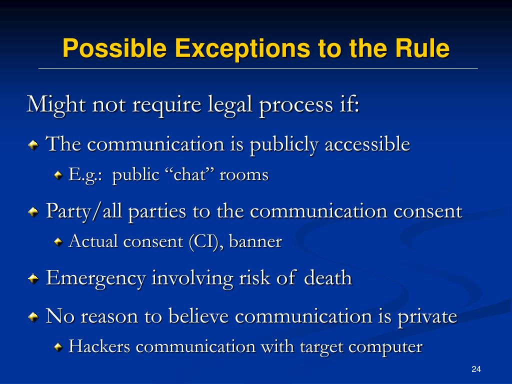 Possible Exceptions to the Rule