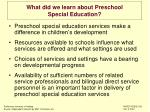 what did we learn about preschool special education